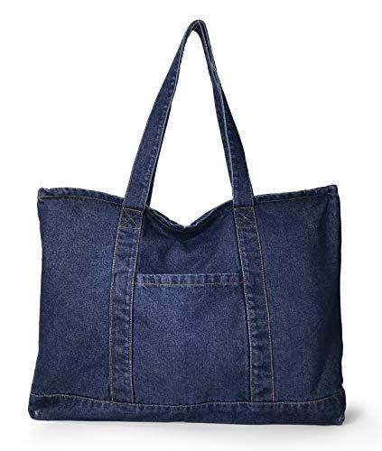 Hoxis Light Weight Soft Denim Tote Unisex Shopper Shoulder Handbag (Navy)