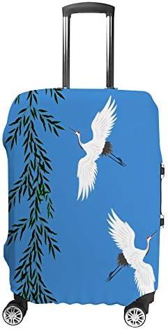 スーツケースカバー 伸縮素材 トランク カバー 洗える 汚れ防止 キズ保護 盗難防止 キャリーカバー おしゃれ 白い鶴と柳の枝 ポリエステル 海外旅行 見つけやすい 着脱簡単 1枚入り