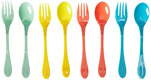- Knork 037 ToGo Lunch Reusable Plastic Utensil Fork and Spoon Pack, 8+1 Piece Set, Multi Color