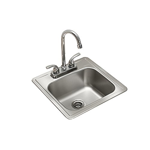 Kindred Essentials All-in-One Kit 15-inch x 15-inch x 6-inch Deep Drop-In Bar or Utility Sink in Satin Stainless Steel, - Handle X-square Kit