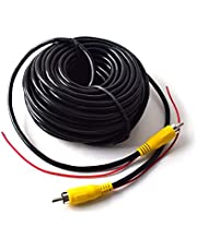 15M 50FT Backup Camera Monitor RCA Phono Video Extension Cable for Truck RV Trailer Car Rear View Parking System with Detection Wire Automatic Reverse Trigger