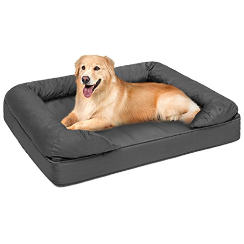 Best Choice Products Large Orthopedic Pet Sofa Bed Mattress w/Comfortable Memory Foam for Dog, Cat, and Puppy - Gray