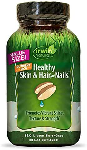 Irwin Naturals Nutrient Rich Healthy Skin & Hair Plus Nails - Promotes Vibrant Shine Texture & Strength - 120 Liquid Softgels