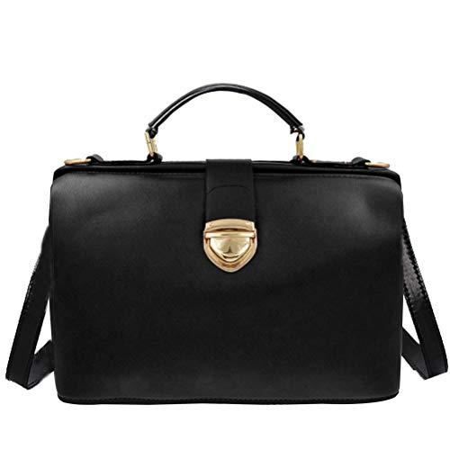 Donalworld Women Vintage Hobo Doctor Style Pu Leather Shoulder Bag Black