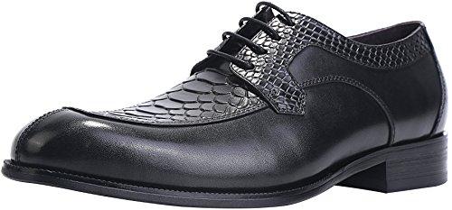 ELANROMAN Dress Leather Shoes for Men Oxfords Brogue Handcrafted Snake Print Black Men's Genuine Leather Lace up Dress Leather Lined Shoes Classic Black US 8 EUR 40 Foot Length 286.68mm
