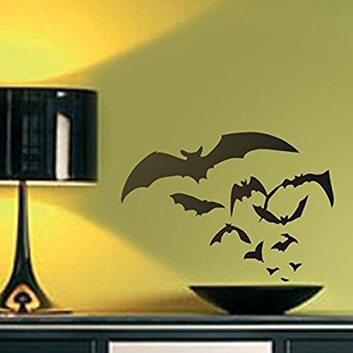 Halloween Wall Decor- Flying Bats Vinyl Spooky Art Sticker Bedroom Decoration,Dark)