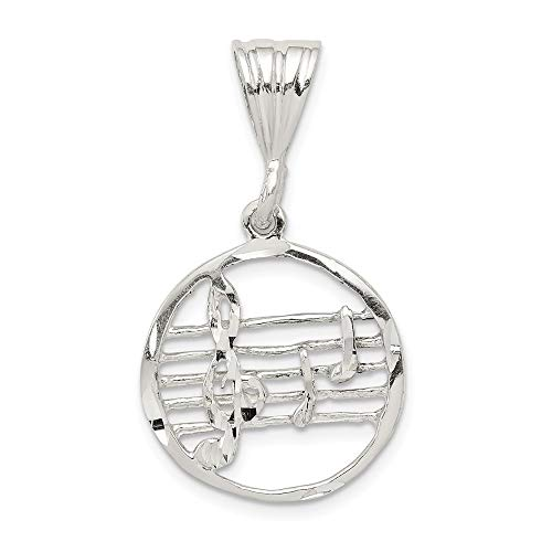 (925 Sterling Silver Music Staff Pendant Charm Necklace Musical Fine Jewelry Gifts For Women For Her)