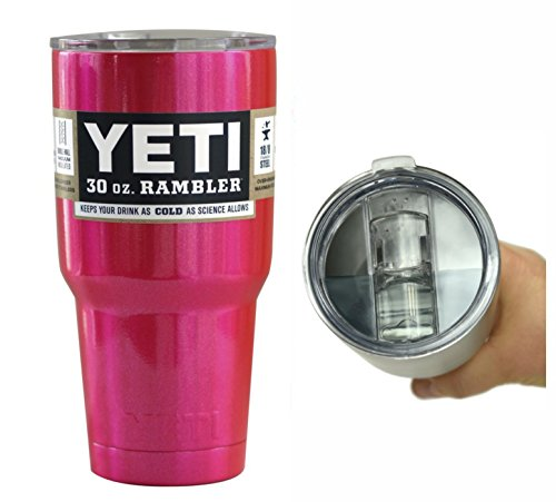 Yeti Coolers 30 oz Rambler Tumbler with Exclusive Spill Resistant Lid (Fuchsia Pink)