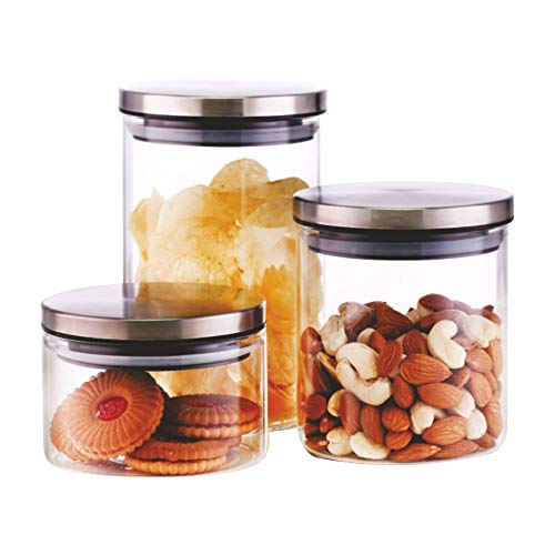 Borosil – IDFCJ036903 Classic Glass Jar for Kitchen Storage, Set of 3, (300ml + 600ml + 900ml) Price & Reviews