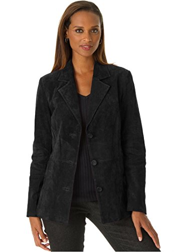 Jessica London Women's Plus Size Classic Tailored Suede Blazer Black,16