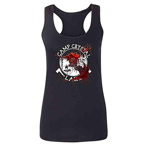 Pop Threads Camp Crystal Lake Counselor Costume Staff Bloody Black M Womens Tank Top for $<!--$9.50-->