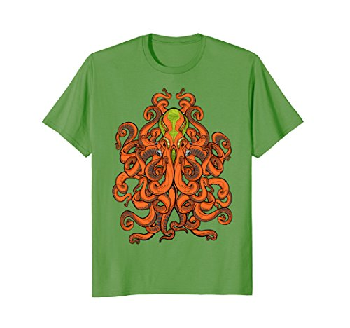 Mens ALIEN OCTOPUS - kraken - sea monster - squid - T-shirt XL Grass - Sea Monster Green