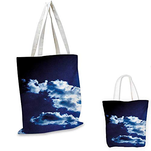 Dark Sky Small Natural - Dark Blue small clear shopping bag Sky and Dramatic Clouds Natural Phenomena Sunset Sunrise Theme Majestic sloth shopping bag Blue Dark Blue White. 14
