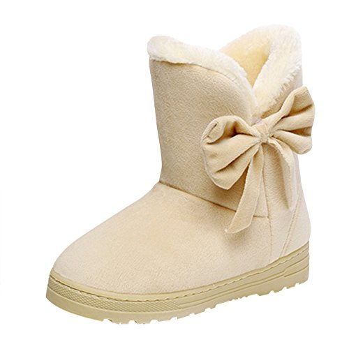 Snow Optimal Cream Cc With Ankle Bows Womens Skid Decorative Fully Warm Fur Boots Winter Lined Boots coloured Resistant rTTZqw