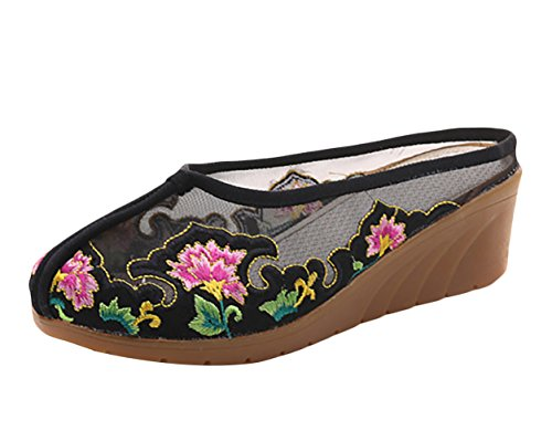 Chinese Mesh Sandals (Chickle Wedge Sandals for Women Mesh Flats Embroidered Walking Shoes Black)