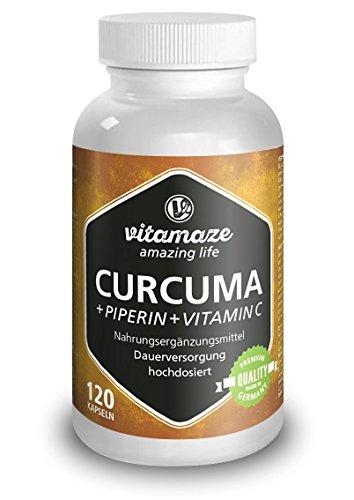 Curcuma Kapseln mit Piperin Curcumin hochdosiert plus Vitamin C, 120 Kapseln für 6 Wochen, Qualitätsprodukt-Made-in-Germany ohne Magnesiumstearat, jetzt zum Aktionspreis und 30 Tage kostenlose Rücknahme! 1er Pack (1 x 105,6 g)
