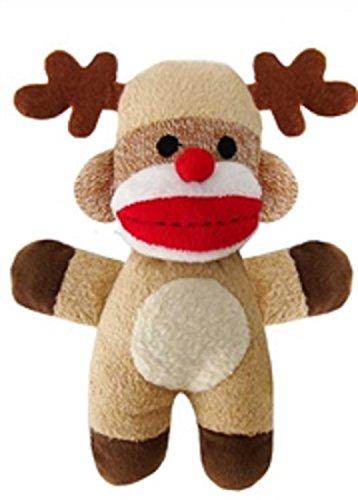 """Lulubelles 7.5"""" Baby Reindeer Christmas Holiday Sock Monkey"""