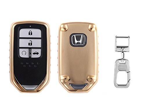 QBUC Car Keyless Replacement Shell Electronic Cover With Extra Key Holder Hook for Honda (Gold) by QBUC (Image #1)