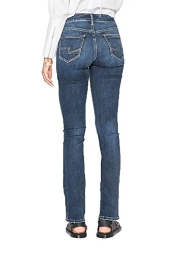 Silver Jeans Co. Women's Avery Curvy Fit High Rise Slim Bootcut Jeans, Dark Comfort Stretch, 28x31 (Boot Womens Jeans Slim)