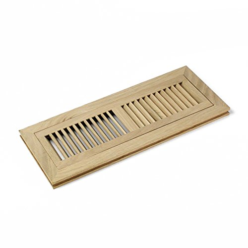 4 X 14 Inch White Oak Wood Flush Mount Floor Register Vent Cover Grille Unfinished by WELLAND, Fits 3/4