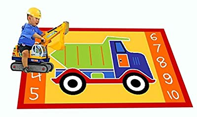 MYBECCA's Playtime Kids Rug DUMP TRUCK Playtime Area Rug 5ft X 8ft for Nursery and Playroom