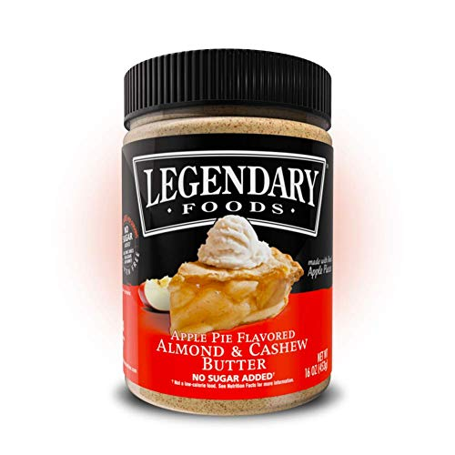 Legendary Foods Almond & Cashew Butter | Keto Diet Friendly, Low Carb, No Sugar Added, Vegan | Apple Pie, 16oz Jar