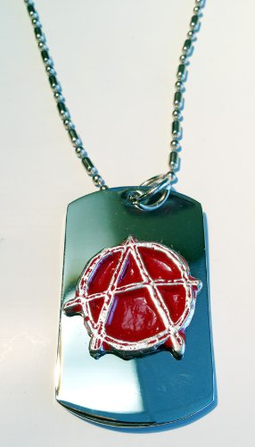 Pewter Tag - Anarchy Hand Painted Red Pewter Emblem Logo Symbols - Military Dog Tag Luggage Tag Key Chain Metal Chain Necklace