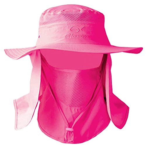 DDYOUTDOOR 07-281 Fashion Summer Outdoor Sun Protection Fishing Cap Neck Face Flap Hat Wide Brim (Rose Red)