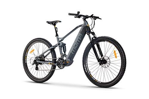Moma Bikes Bicicleta Eléctrica E-MTB 29″ Full Suspension, Shimano 24vel, frenos hidráulicos, batería Litio 48V 13Ah (624Wh)