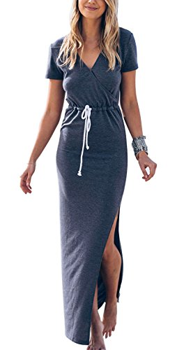[Maxi Dresses for Women Soft Comfy Lightweight Cotton Jersey Novelty Maternity Dress with Slit Blue XL] (Maternity Jersey Dress)