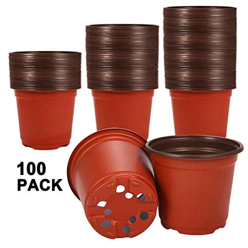 (Akarden 100 Pcs Plastic Nursery Pot/Pots, Plant Pots, Flower Plant Container Seed Starting Pot)