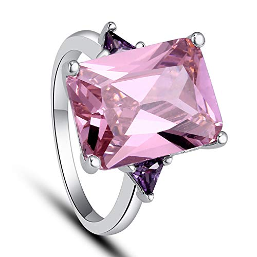 - Emsione Pink Topaz 925 Silver Plated Cubic Zirconia Ring for Women
