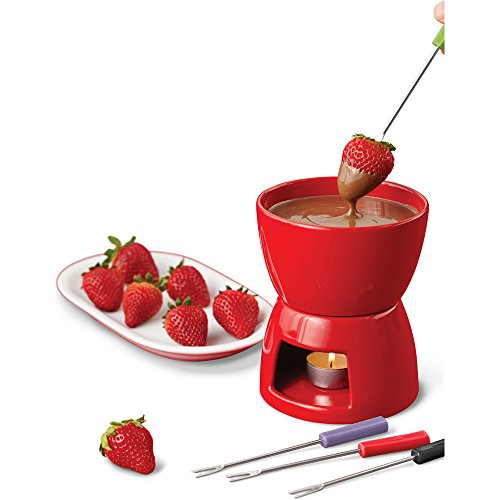 Price comparison product image Wilton Valentine's Ceramic Fondue Set, Red