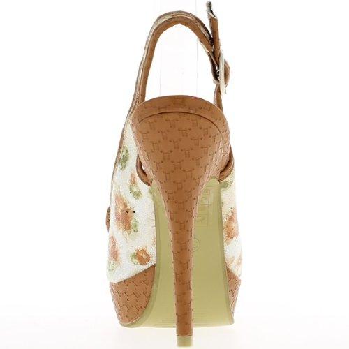 Sandales camel fleuries à talon de 13,5cm et plateau de 3cm