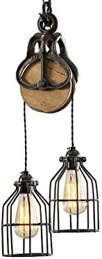 West Ninth Vintage Wood and Iron Barn Pulley Light Black Copper