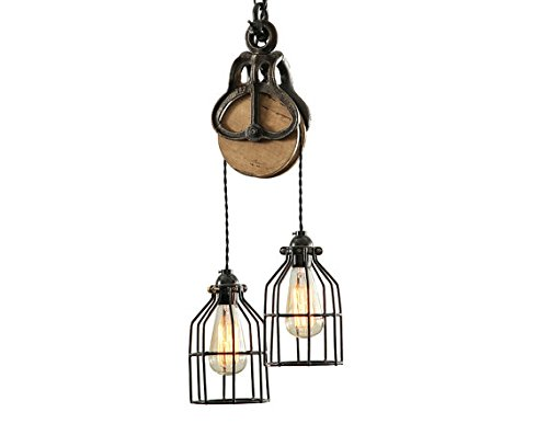 West Ninth Vintage Wood and Iron Barn Pulley Light (Black & Copper)
