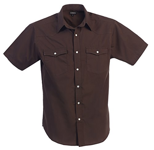 Gioberti Mens Casual Western Solid Short Sleeve Shirt With Pearl Snaps, Brown, X Large - Brown Mens Shirt