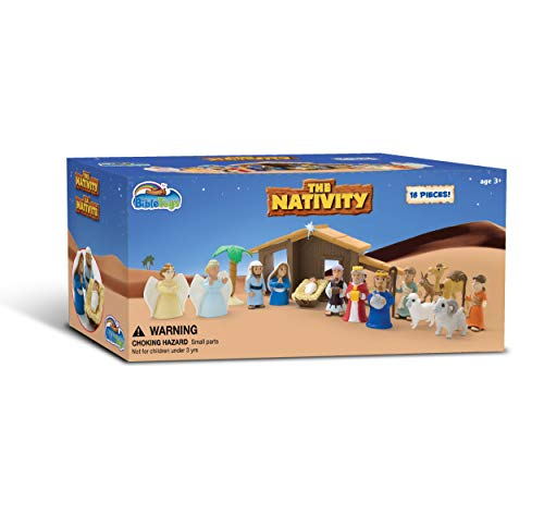 Nativity Playset for Children 19Piece by BibleToys. Includes Mary, Joseph, Baby Jesus. Christmas Toys for Children -