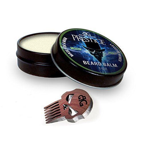 Beard Gains Prestige Luxury Mens Cologne Scented Beard Balm Conditioner and Wooden Punisher Skull Micro Mustache Beard Comb Bundle Kit – Medium Butter Hold (1oz)