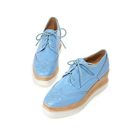 Susanny Women's Platform Wedges Lace-Up Wingtips Round toe Oxfords Shoe Casual Leather Blue Sneaker 10 B (M) US
