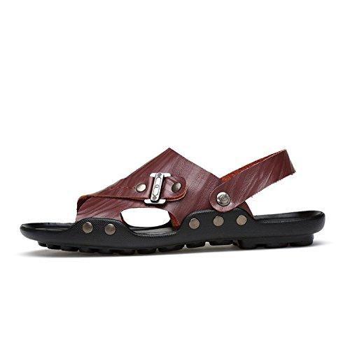 Plus Size Mens Shoes Genuine Leather Non-Slip Leisure Beach Sandals Men Casual Shoe,Chocolate,10 (Leather Euro Shoe Golf)