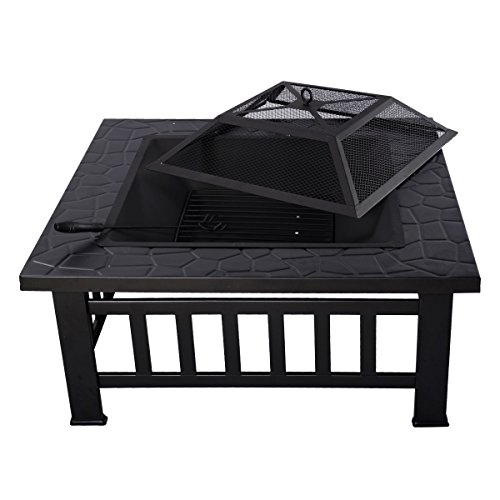 Giantex Outdoor 32″ Metal Firepit Patio Garden Square Stove Fire Pit Brazier