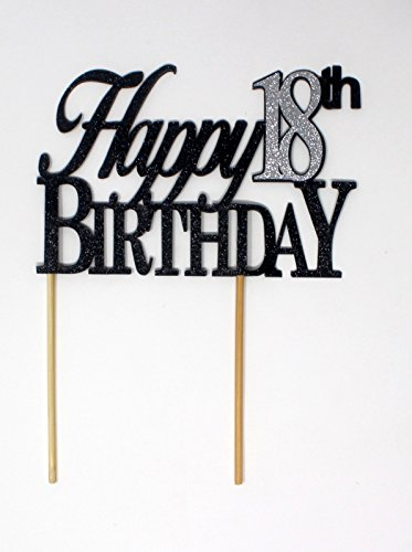 All About Details Happy 18th Birthday Cake Topper,1pc, 18th Birthday, Cake Decor, Party Decor, Glitter Topper (Black & Silver) for $<!--$13.99-->