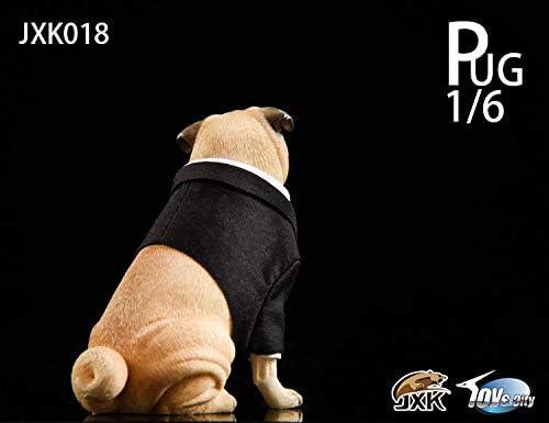 JXK studio 1//6 Pug Black FRANK Animal Figure Resin Model w// Clothes Cute Model