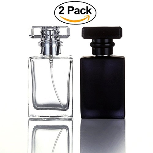 Bottle Perfume Elegant (2 Pack - 30ML Square Flint Glass Refillable Perfume Bottle, Portable Cologne Atomizer Empty Bottle with Spray Applicator For Travel (Colors of Transparent and Black))