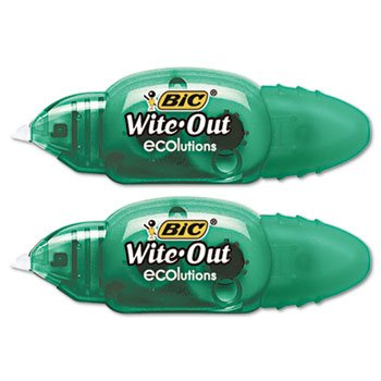 BIC WOETP21 Wite-Out Ecolutions Mini Correction Tape, White, 1/5