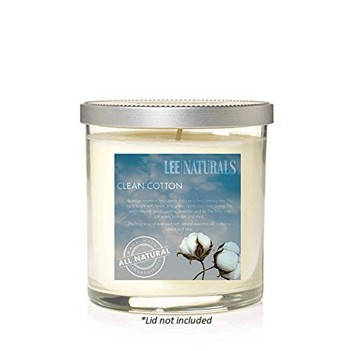 - Lee Naturals - CLEAN COTTON Premium All Natural 10oz. Soy Tumbler Candle. Hand Poured Naturally Strong Scented Soy Tumbler Candle