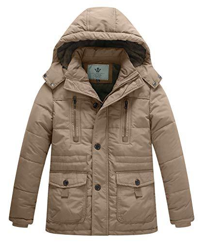 WenVen Boy's Winter Thicken Warm Coat Padded Zipper Hooded Parka Jacket Khaki,S
