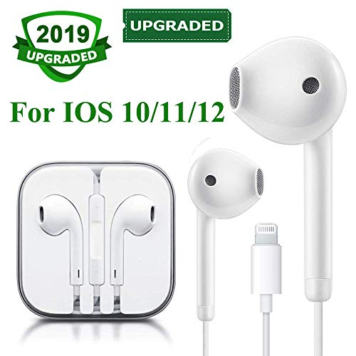 Lighting Earbuds Headset Wired Earphones Headphone with Microphone and Volume Control, Compatible with iPhone XS/XS Max/XR/X/8/8 Plus/7 IOS 10/11/12 Plug and Play