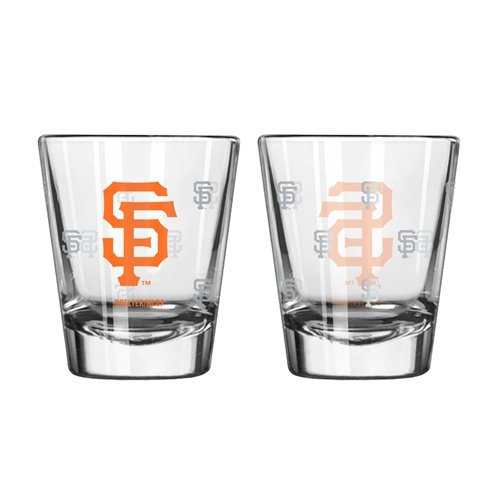 MLB San Francisco Giants Satin Etch Shot Glass Set, 2-ounce, 2-Pack